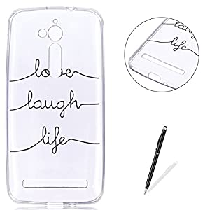 KaseHom ASUS ZenFone Go ZB500KL TPU Case Clear Crystal with [Free Touch Stylus Pen] Funny Anime Design Ultra Slim Soft Rubber Shock-Absorption Bumper Cover Shell - Text lines