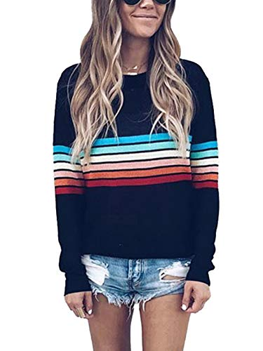 MISSLOOK Women's Rainbow Tops Colorful Striped Shirts Long Sleeve Crew Neck Color Block Casual Blouse - Black L (Sleeves For Teens Long)