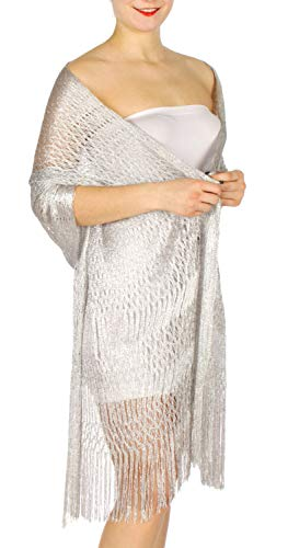 Silver Triple Wrap - Evening Shawls And Wraps for Dresses, Lightweight Metallic Fishnet Scarf, Lurex diamond fishnet shawl, Triple fringe lurex Silver