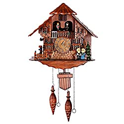 Hand-Carved Cuckoo Clock Pendulum Quartz Wall Clock Black Forest House Home Decor - Chalet with Quartz Movement - Black Forest Clock