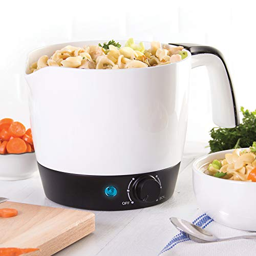 Dash DMC100WH Express Electric Cooker Hot Pot with Temperature Control for Noodles, Rice, Pasta, Soups, Boiling Water & More, 1.2 L, White