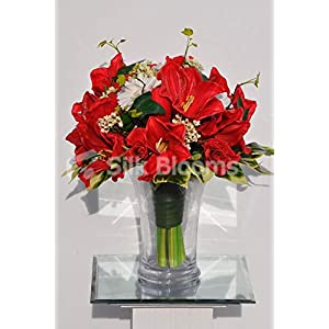 Silk Blooms Ltd Artificial Fresh Touch Red Amaryllis and White Gerbera Floral Arrangement w/Roses and Waxflower 84