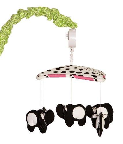 Cotton Tale Designs 100% Cotton Hottsie Dottsie Black & Large White Polka Dot Elephants, Under Dots & Striped Canopy Musical Mobile with Green Jungle Cheetah/Leopard Animal Print Arm - Tale Cotton Elephant