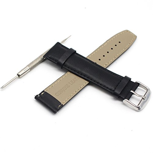 Rerii Leather Watch Strap with Pins, 22mm - Black (Watch Bands Leather 22mm)