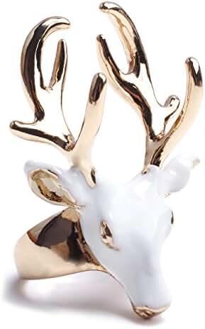 eManco Statement Deer Head Open Cuff Rings for Women Enamel Copper Jewelry White