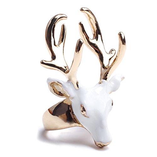 eManco Statement Deer Head Open Cuff Rings for Women Enamel Copper Jewelry White (Deer Ring For Women)