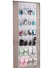 Umi. 24 Poches sur la Porte de Rangement à Chaussures, à Suspendre Organiseur étagère Pliable Armoires Sac de Rangement avec Crochets, 48.3 (cm) W x 162.6 (cm) H, Blanc + Transparent