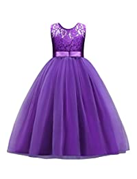 AmzBarley Girls Dress Birthday Wedding Party Prom Ball Gown Clothes Pink