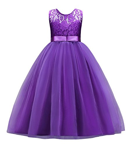 Jurebecia Big Girls Lace Wedding Dresses Flower Girls Pageant Party Gowns Purple Size 16