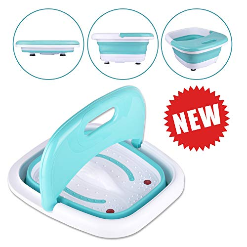 Foot Spa Massager-Portable Foot Bath Tub New 2019 Version w/Electric Heating & Bubble Wave - All in One Pedicure Machine Home Use Set for Relaxation & Red Light Therapy - Collapsible Design For Easy S