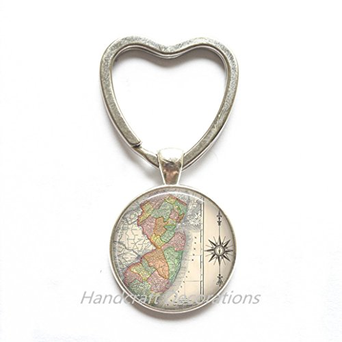 Charming Heart Keychain New Jersey map Heart Keychain, New Jersey map Key Ring, New Jersey antique map jewelry, map jewellery,A0047