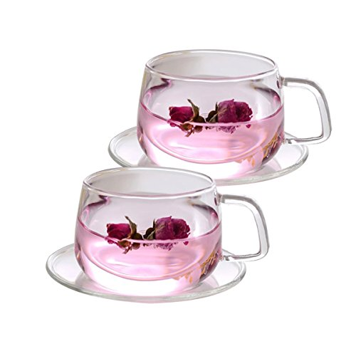 Tosnail 11 oz. Clear Glass Tea Cup Coffee Mug with Clear Glass Saucer, Set of 2