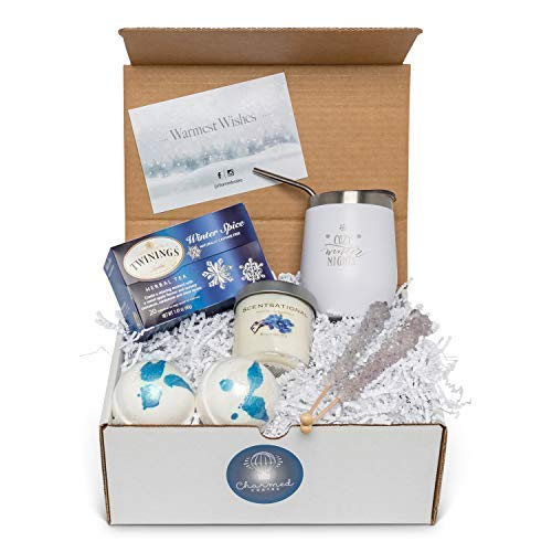 Relaxation Gift Basket for Women: Stainless Steel Wine Tumbler, Scented Candle, Bath Bombs, Tea & Candy Set for Her by Charmed Crates (Image #4)