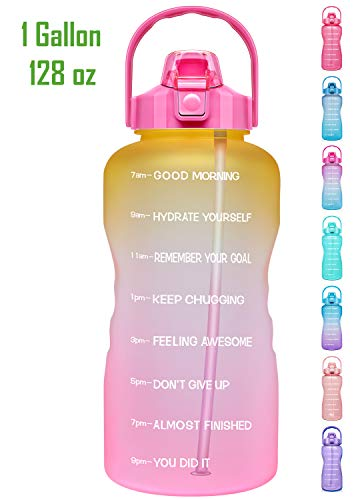Venture Pal Large 1 Gallon/128oz Motivational Water Bottle with Time Marker & Straw,Leakproof Tritan BPA Free Water Jug,Ensure You Drink Enough Water Daily for Fitness,Gym and Outdoor Sports
