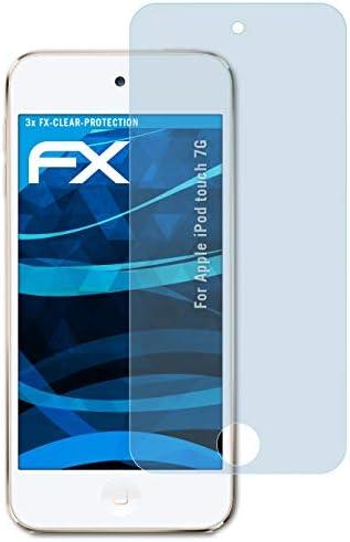 atFoliX Schutzfolie kompatibel mit Apple iPod Touch 7G Folie, ultraklare FX Displayschutzfolie (3X)