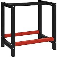vidaXL Banco de Trabajo Estructura Soporte de Mesa Taller Herramientas Garaje Moderno Duradera Resistencia Metal Negro y…