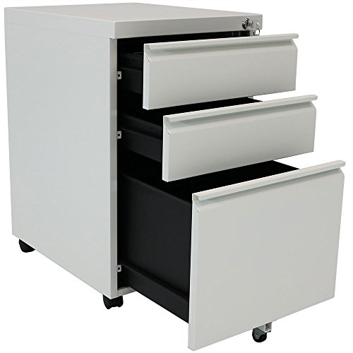 - Rolling Steel 3-Drawer Wheeled Mobile File Cabinet with Lock for Home or Office by CASL Brands
