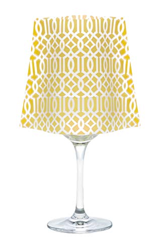 MODGY Classiq Yellow Frosted Lumizu Wine Glass Shades. Four Pack. Floating LED Candles with Batteries Inlcuded - Wedding, Party, Patio