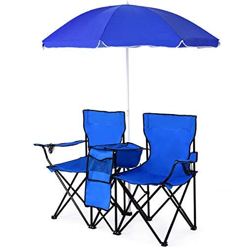 Stark Item Portable Folding Picnic Double Chair W/Umbrella Table Cooler Beach Camping Chair (Near Beach Me Umbrella)
