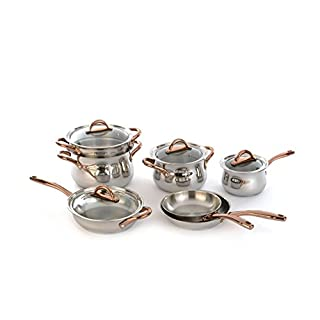 BergHOFF 11 Piece Ouro Cookware Set with Gold Handles and Glass Lids, Silver/Rose