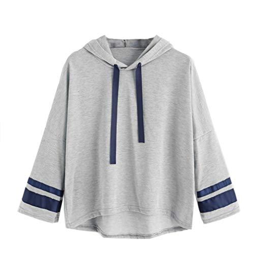 Haut Blouse AIMEE7 Manche Tops Capuche Imprim Gris Rayures Shirt Femme T Longue qvn1qOBZ