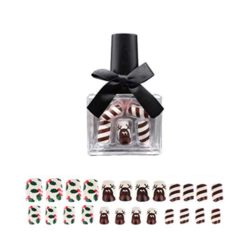 Easy Do It Yourself Halloween Nail Art (MISUD Square Fake Nails Christmas Series Nails 24 Pcs Elk and Tree Pattern Press-on Full Cover Reindeer Design)