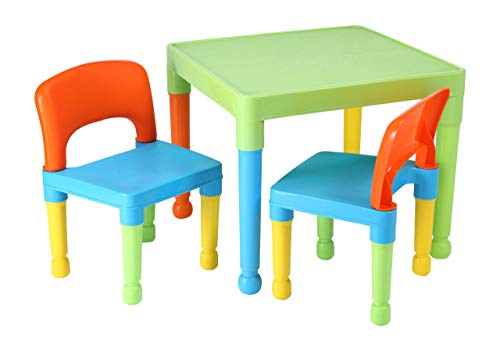 Liberty House Toys Children's Multi-Coloured Table & 2 Chairs Set, Multicoloured, 51x51x43.5 cm