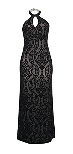 Party Bodycon Dress Halter Sleeveless Black Women's Hollow Mermaid Cromoncent Backless wYPRRa