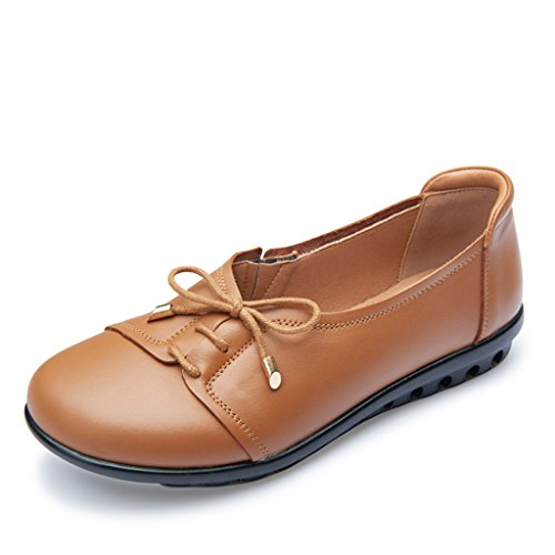 brown Bottom Day Soft Middle Mom Leather Shoes Round Women's ZCJB Bottom Aged Single Large Yellowish Shoes Sandals Gift Shoes Size Flat Head Mother's EqwHBxg