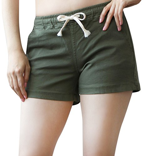 Mascara Women's Colored Stretch twill Drawstring Elastic Waist Shorts Khaki Small