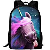 Best KAKA Work Backpacks - Pink Unicorn Head Canvas Laptop Backpack Cute School Review