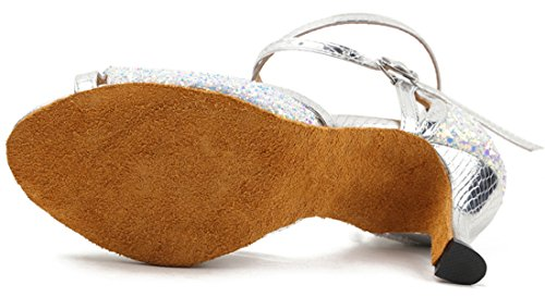 Open Dance Toe Silver Women's Glitter Tango Sequins Honeystore Shoes Latin HgPxdqnR