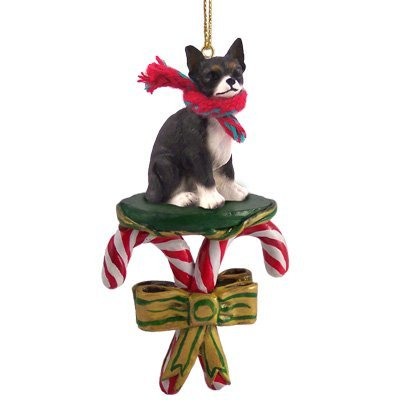 CHIHUAHUA Dog Black CANDY CANE Christmas Ornament DCC06A by Eyedeal Figurines
