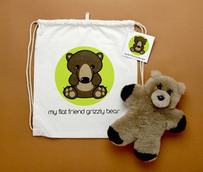 Flat Friends GRIZLD Grizzly Bear Lambskin Soft Toy & Drawstring Bag