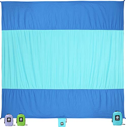 Laid Out Beach Towel - WEKAPO Sand Proof Beach Blanket (Blue)