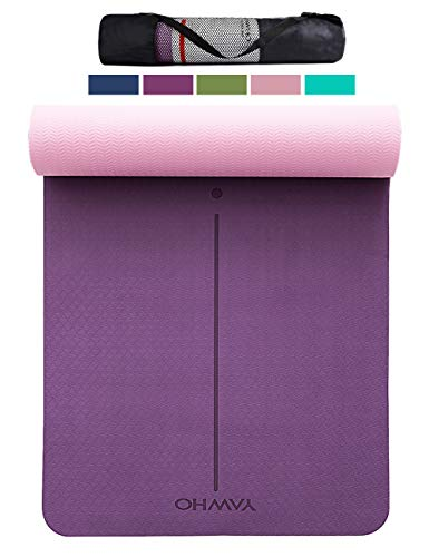 YAWHO Yoga Mat Fitness Mat Specifications 72'' x 26'' Thickness 1/4-Inch Eco Friendly Material SGS Certified Ingredients TPE Extra Large Non-Slip Exercise Mat with Carry Strap and Carry Bag (Violet)