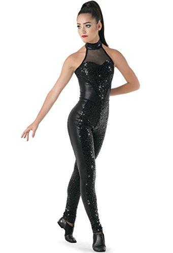 Balera Dance Unitard Sequin Performance Mock Neck with Mesh and Metallic Accents (Circus Dance Costumes)