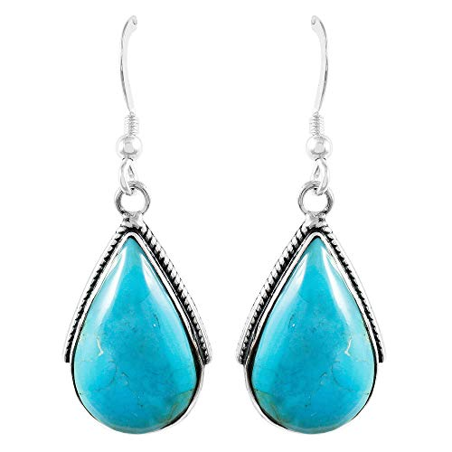 - Turquoise Earrings 925 Sterling Silver & Genuine Turquoise (Select style) (Teardrops)