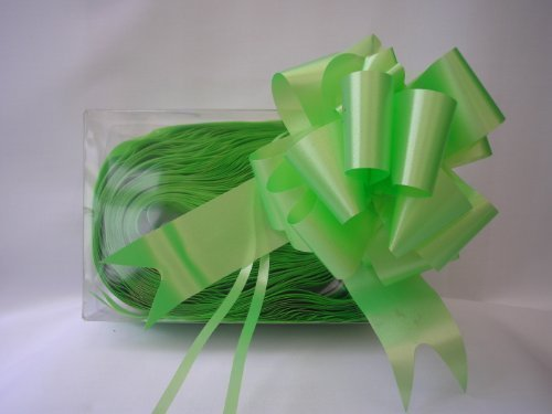 20 x 50mm (2'') Rapid Satin Pull Bows - LIGHT LIME GREEN for Gift Decorations, Flower Bouquets & Arrangements, Baskets, Wedding Cars, Floral Tributes, Arts & Crafts, Christmas Hampers by Smithers Oasis