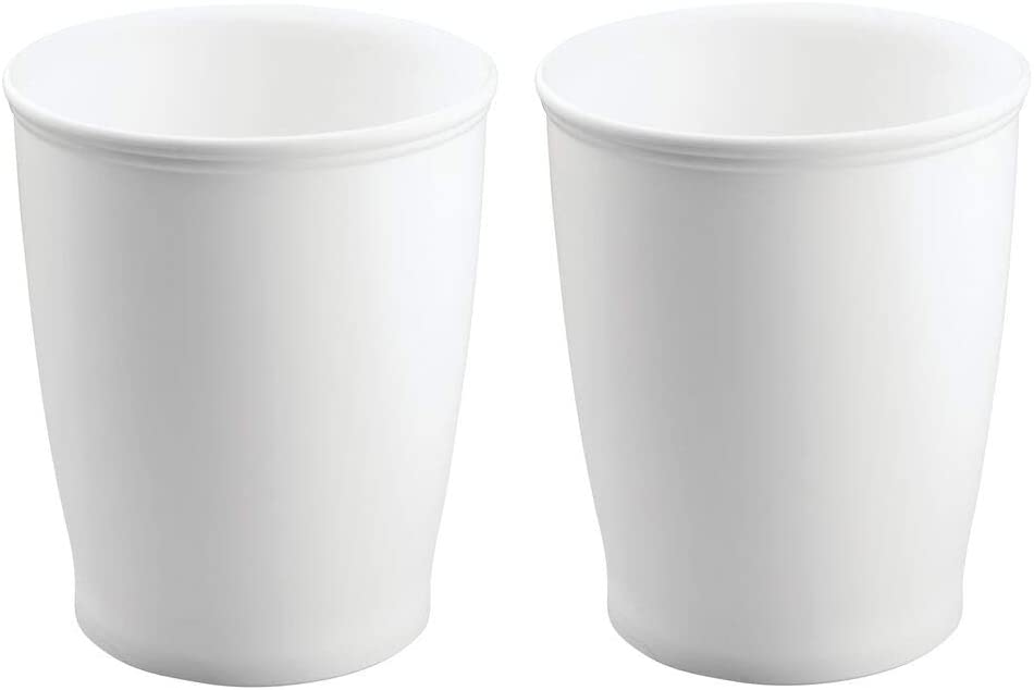 mDesign Modern Round Shatter-Resistant Plastic Small Trash Can Wastebasket, Garbage Container Bin for Bathrooms, Kitchens, Home Offices, Dorm Rooms - 2 Pack - White