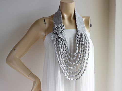 Light Grey Necklace-Rose Necklace-Grey Crochet Necklace-Flower Necklace Scarf- Jewelry Scarf-Handmade Loop Scarf -Cotton Summer Scarf-Vegan Scarf