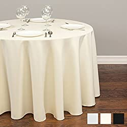 "Lightweight Round Tablecloth Polyester Table Linen - Stain Resistant Washes Easily Great for Thanksgiving Christmas Family Dinner Wedding Parties Restaurant Banquet (IVORY, Round 120"")"