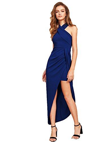 (MAKEMECHIC Women's Sleeveless Split Ruched Halter Party Cocktail Long Dress Blue XL )