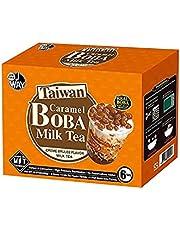 J WAY Instant Bubble Tea Kit - Boba Milk Tea (Creme Brulee Milk Tea with Caramel Boba Pearls) 1 Box (6 drinks)