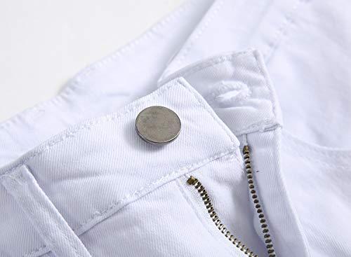Skinny Strappati Distrutti White Uomo Distressed Per Jeans Con Fori CB5qdwxWx