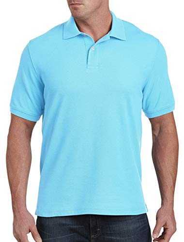 Harbor Bay by DXL Big and Tall Piqué Polo Shirt, Bachelor Button, 2XLT ()