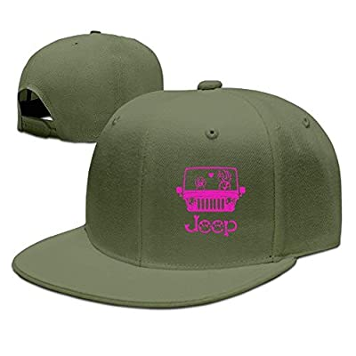 Jeep Dog Pink Unisex Snapback Adjustable Flat Bill Baseball Cap