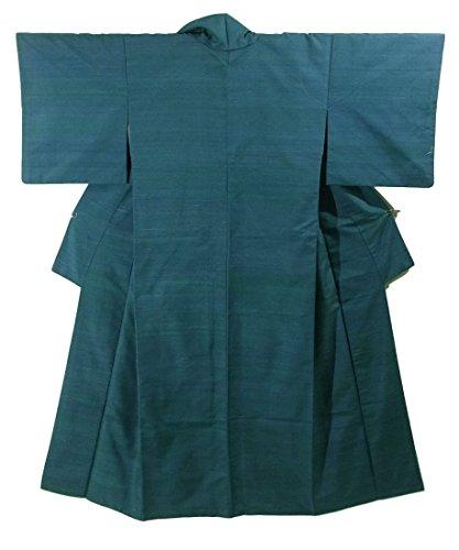 リサイクル 着物 紬  無地 ピーコックグリーン 正絹 袷 裄64cm 身丈155cm