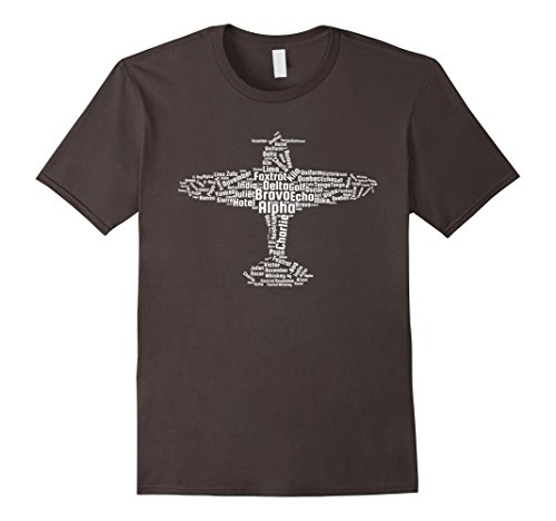 Mens Aviation Phonetic Alphabet Shirt, Flying Pilot T-Shirt Large Asphalt