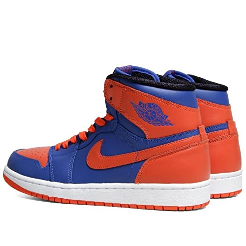 Nike Hommes Air Jordan 1 Rétro Haute Og Knicks Chaussures De Basket En Cuir Jeu Royal / Équipe Orange